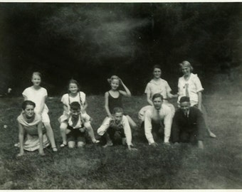"Vintage Photo ""Piggy Back Race"" Group Sitting on Back Snapshot Photo Old Photo Black & White Photograph Found Paper Ephemera Vernacular - 35"