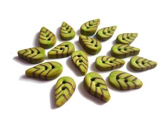 leaf MINI BUTTONS  1,2 cm Set of 16  pces in olive green, artisan made polymer clay buttons, green leaf button, DIY sewing accessory, bouton