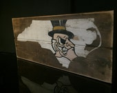 Demon Deacons, Wake Forest hand painted salvaged wood sign
