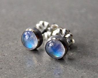 Gemstone Post Earrings, Rainbow Moonstone Earrings, Oxidized Sterling Silver and Rainbow Moonstone Stud Earrings