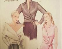"""Wrap Blouse Pattern Vogue 7340 Evening Sleeveless Shirt Sz  8 10 12  Bust 31.5-34.5"""""""