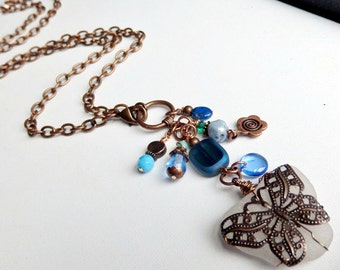 Butterfly Lariat, Beach glass jewelry, Finger Lakes, blue glass, wire wrapped, long necklaces, gifts for women, copper necklace, trendy