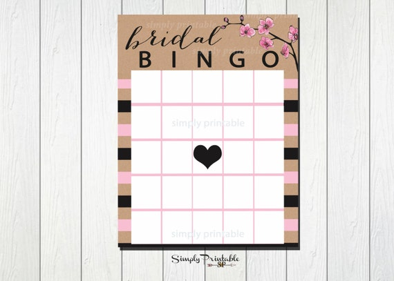 Bridal Shower Bingo, Bridal Bingo, Shower Games, Bingo PDF, Rustic, Pink Stripes, Instant Download