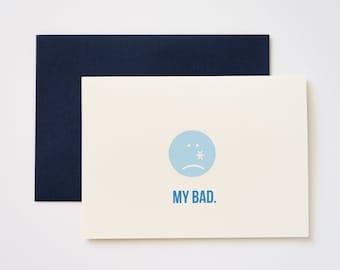 My Bad Emoticon I'm Sorry Greeting Card