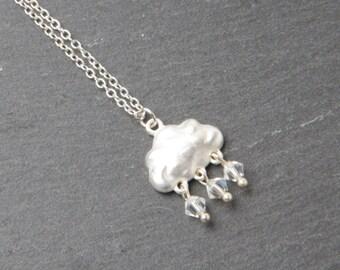 Cloud rain necklace, rain necklace, silver cloud necklace, Sterling silver chain, raindrop necklace, cloud jewelry, rain jewelry