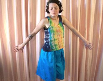 Bright Blue Culottes, Shorts, 80s
