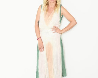 Vintage Grecian Gauze Midi Dress , BOHO Sun Dress