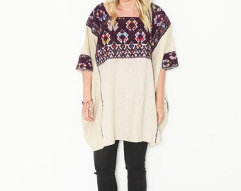 Vintage Huipil Top, Ethnic Embroidered Poncho , BOHO Tunic