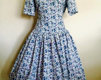 Floral Swing/Petticoat dress 'Azur'