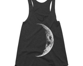 Crescent Moon Racerback Tank, Moon Top, Moon Shirt, Yoga Tank Top, Bohemian Clothing, Spiritual Clothing, Womens Tank Tops, American Apparel