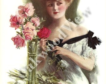 Girl for the Play Print by Henry Hutt, Beautiful Woman, Roses, Love Romance, Antique 1910 Edwardian Color 9x11 Bookplate Art, FREE SHIPPING