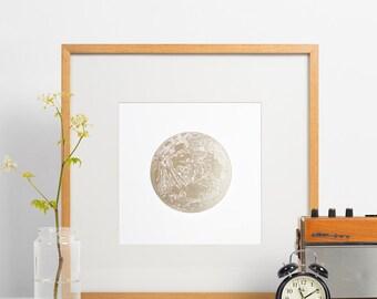 Letterpress full moon, gold moon print, lunar, art print, wall decor, full moon shiny gold lunar very limited edition