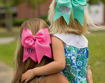 Monogram Hairbow, Monogram Large Bow, Monogram Cheer Bow, Personalized HairBow, Embroidered Hair Bow, Monogram Mint Bow, Preppy Hairbow