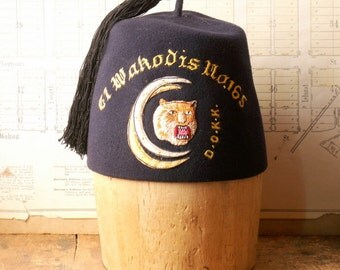 Vintage Navy Blue Fez - Men's Fraternal Club Hat - El Wakodis No. 165 - Dramatic Order of the Knights of Khorassan
