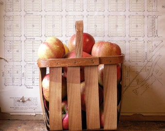 Vintage Rectangular Split Reed Basket with Handle - Great Rustic Fall Decor!