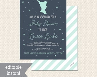 Editable NEVERLAND PETER PAN Baby Shower Invitation - Instant Download