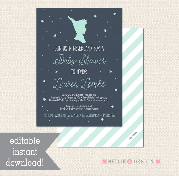Editable neverland peter pan baby shower invitation instant for Peter pan invitation template
