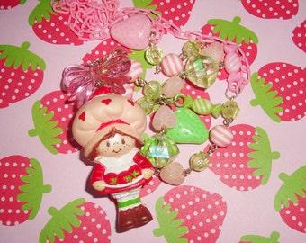 Vintage Strawberry Shortcake Bushel of Strawberries Beaded Charm Necklace