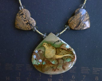 FREE SHIPPING Hand painted stone   Pendant  bird 8