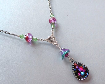 Rhinestone bead chain necklace, rainbow crystal, flower stone pendant, antiqued silver, dark pearls, deep colors, colorful jewelry