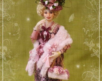MLLE MURIELLE  ooak French Edwardian lady 1:12 dollhouse doll by Soraya Merino