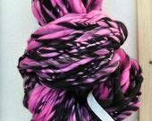 "Bulky Yarn ""Carousel Blush"" Pink Black Chunky Thick n Thin Handspun Soft Wool hand spun Big Hand dyed Knitting Supplies Crochet Supplies"