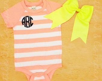 Custom Onsie & Bow Set - Glitter Monogram Onsie -  Short Sleeve Onsie  - Baby Shower Gift  - Baby Clothing  - Summer Baby Outfit - Stripes