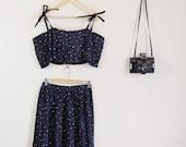SALE Altered Black and Rainbow Polka Dot Print Twin Set Crop and Full Skirt 90s Cute Lolita 70s