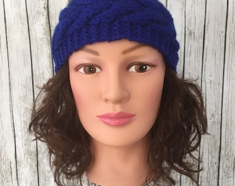 Blue knit headband ear muffs ear warmers
