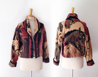 1980s horse motif tapestry jacket size large