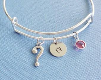Question Mark Bracelet, Silver Bangle,Charm Bracelet,Initial Bracelet,Expandable,Swarovski Birthstone,BFF Friend,Birthday Gift,Personalized