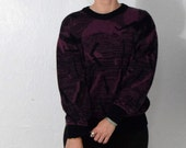SUMMERSWEATER for 5 off!  Art Deco - Purple and Black Abstract Print Pullover Chunky Sweater Womens Size Small Medium