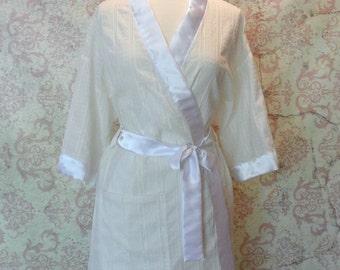 Bridal Lingerie Robe in Swiss Dot Cotton, Satin // Metallic Silver // Wedding
