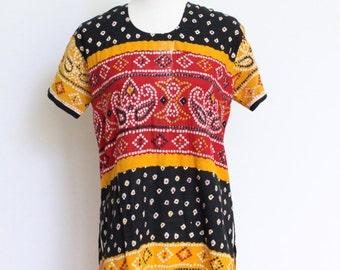 Vintage Tribal Tunic Dress // Cotton Boho Caftan Style Shirt Womens Small