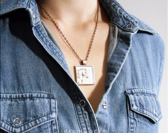BUY 2 GET 1 FREE Horse Pendant Necklace Art Print High Quality Handmade Silver Copper Square - Leonardo da Vinci Horse Drawing (0070)
