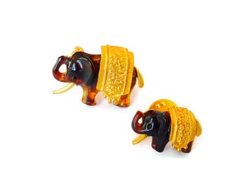 Vintage Lucite Amber Elephant Brooch, Tie Tac Pin, Set of Two