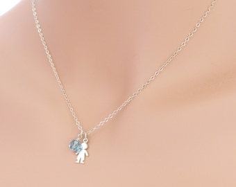 Little Boy Charm Necklace with Birthstone Sterling Silver Mothers Grandmothers Family