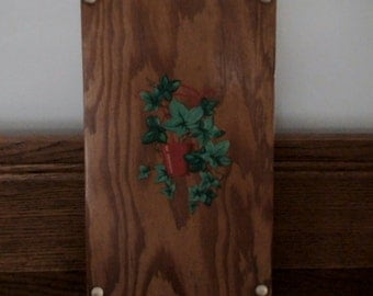 1940's Hardwood Cutting Board,  Kitchen, Dining Decor, Handmade, Painted Floral, Mid-Century