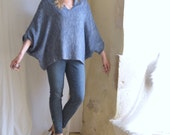 Denim Blue Loose Tunic in Woven Frayed Casual Style - Ready to  Ship as seen. Free Shipping.
