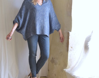 Denim Blue Loose Tunic in Woven Frayed Casual Style -  Free Shipping.