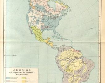1893 Original Antique Map of Ethnic Groups in America