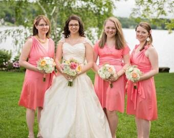 Sweet Pink Convertible Wrap Twist Knee Length Dress...37 Colors... Bridesmaids, Wedding, Valentines Day, Birthday Party, Honeymoon