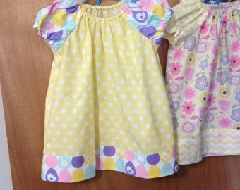Peasant Dress, Spring Prints, Easter Eggs, Dots, Chevron, Infant Sizes Newborn to 24 months