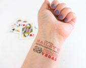 Vegas Bachelorette Temporary Tattoos, What happens in Vegas, Stays in Vegas Custom Temporary Tattoos, Tattoo Party Favors, Vegas Baby!