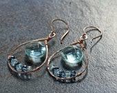Swiss Blue and London Blue Topaz earrings in rose gold fill
