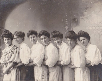 Thanks Awful- 1900s Antique Photograph- Pretty Maids All In A Row- Edwardian Women- Gibson Girls- Real Photo Postcard- RPPC- Paper Ephemera