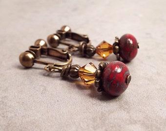Clip on Earrings, Screw Back Earrings, Red Orange Earrings, Womens Gift, Drop Earrings, Fall Autumn, Bohemian Jewelry, Boho Earrings