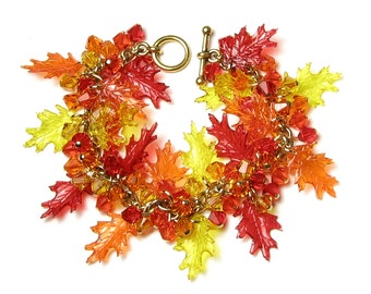 Fall Leaf Bracelet, Swarovski Crystal Autumn Leaves Gold Charm Bracelet, Red Orange Yellow Acrylic Oak Leaf Autumn Bracelet, Gift For Women