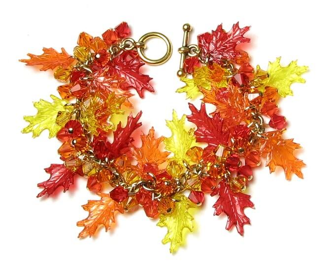 Fall Leaf Bracelet, Swarovski Crystal Autumn Leaves Gold Charm Bracelet, Red Orange Yellow Acrylic Oak Leaf Autumn Bracelet, Gift For Women