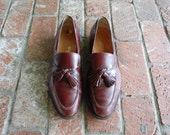 Vintage Mens 13 Salvatore Ferragamo Italian Burgundy Leather Slip On Loafers Tassel Loafer Round Toe Oxfords Prep Hipster Wedding Suit Shoes